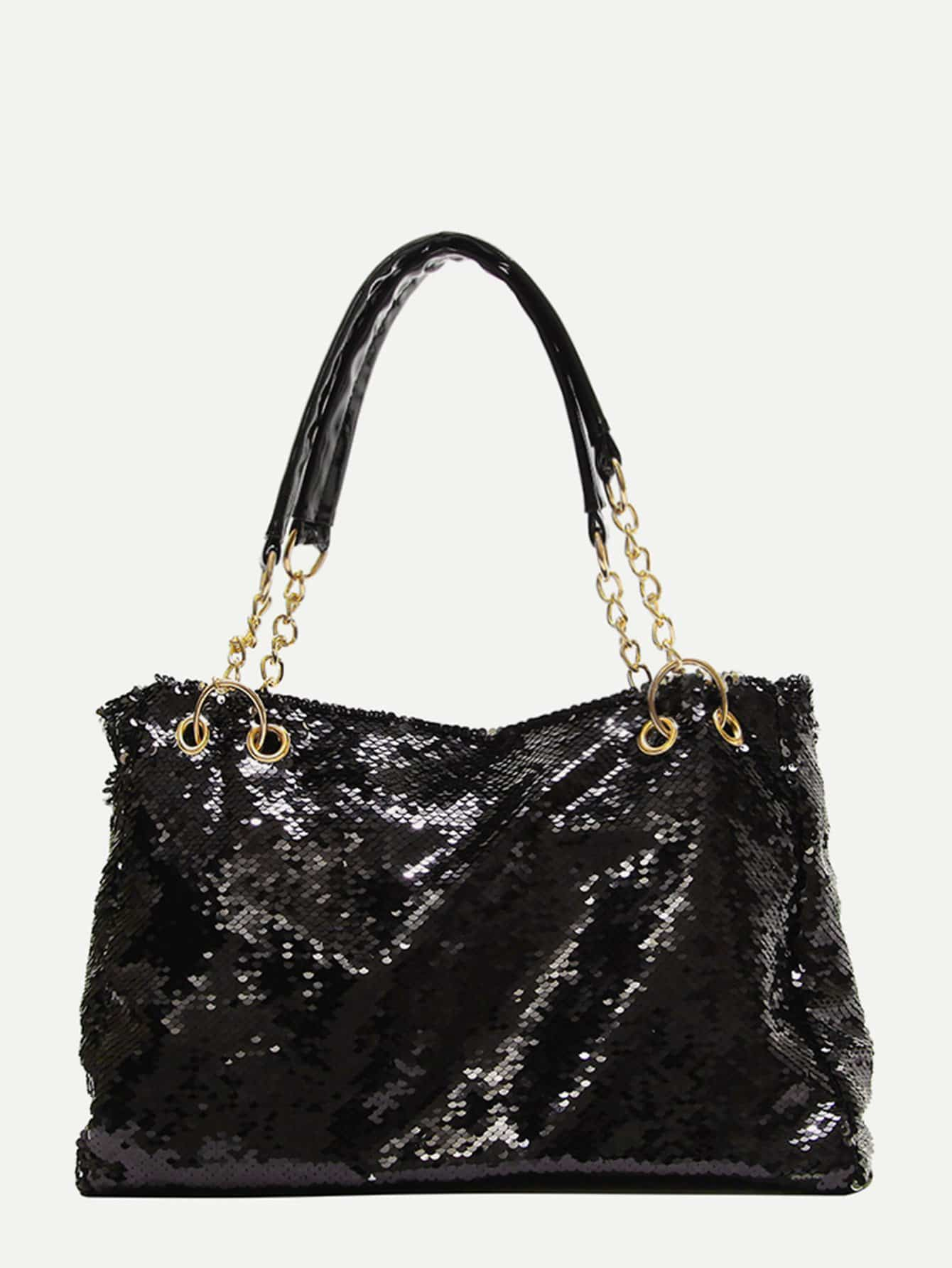 Sequin Tote Bag With Double Handle clear wood handle bag with sequin pouch