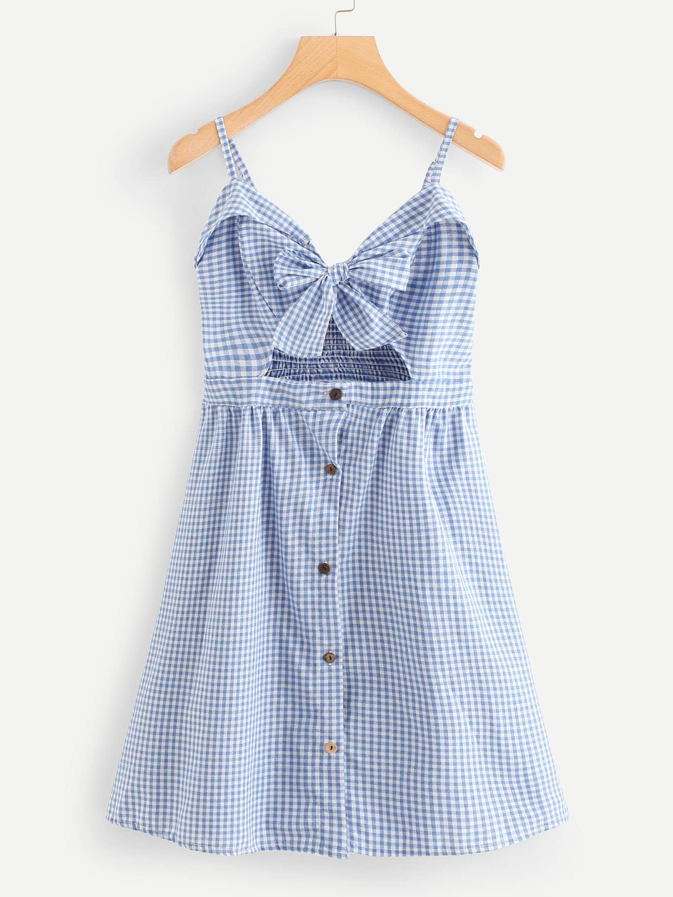 Bow Tie Front Foldover Gingham Cami Dress
