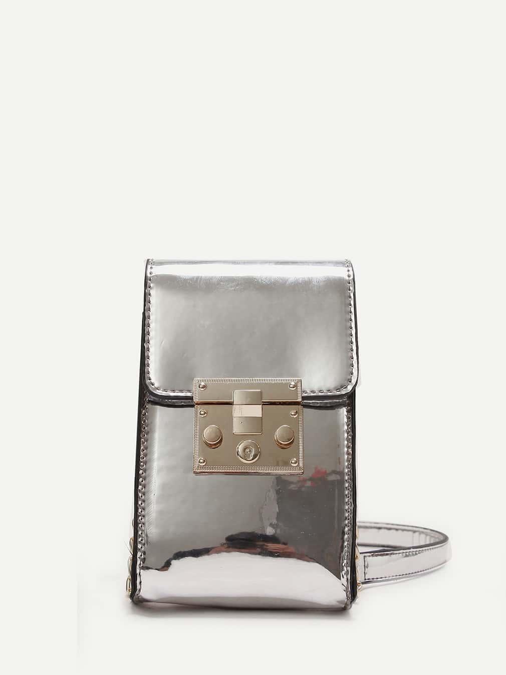 Metallic Detail Crossbody Bag polygon detail star crossbody bag