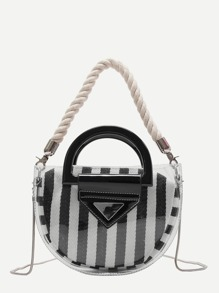 Clear Bag With Striped Clutch