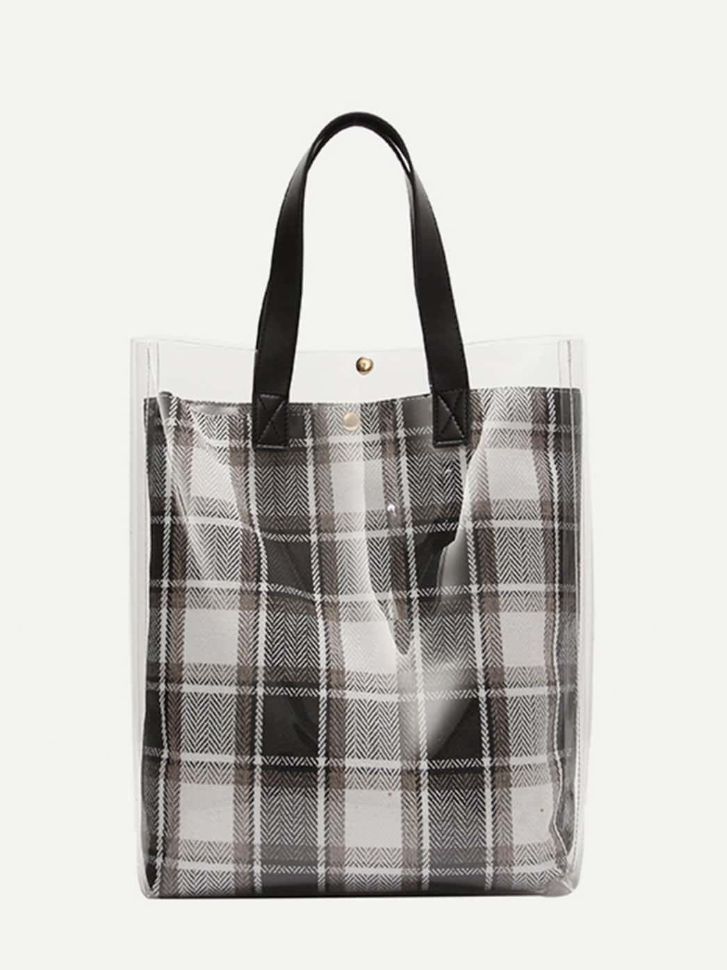 Clear Tote Bag With Plaid Clutch transparent envelope clutch bag