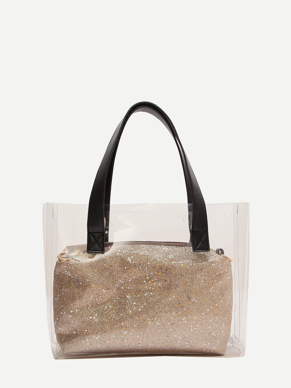 Clear Tote Bag With Star Glitter Clutch clear tote bag with clutch