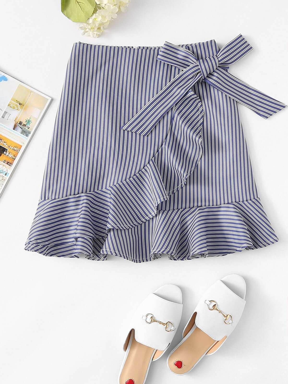 Striped Ruffle Trim Overlap Skirt