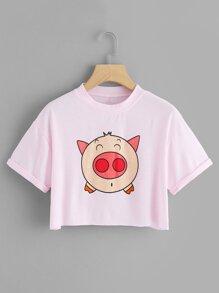Cartoon Pig Pattern Cuffed Tee