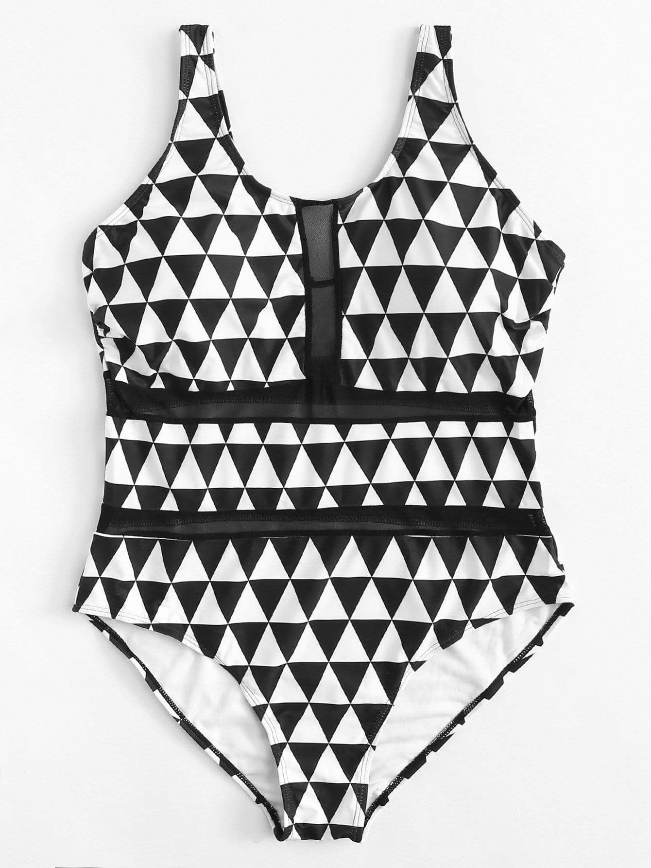 Plus Triangle Print Swimsuit
