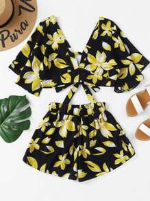 Random Florals Knot Back Crop Top With Shorts