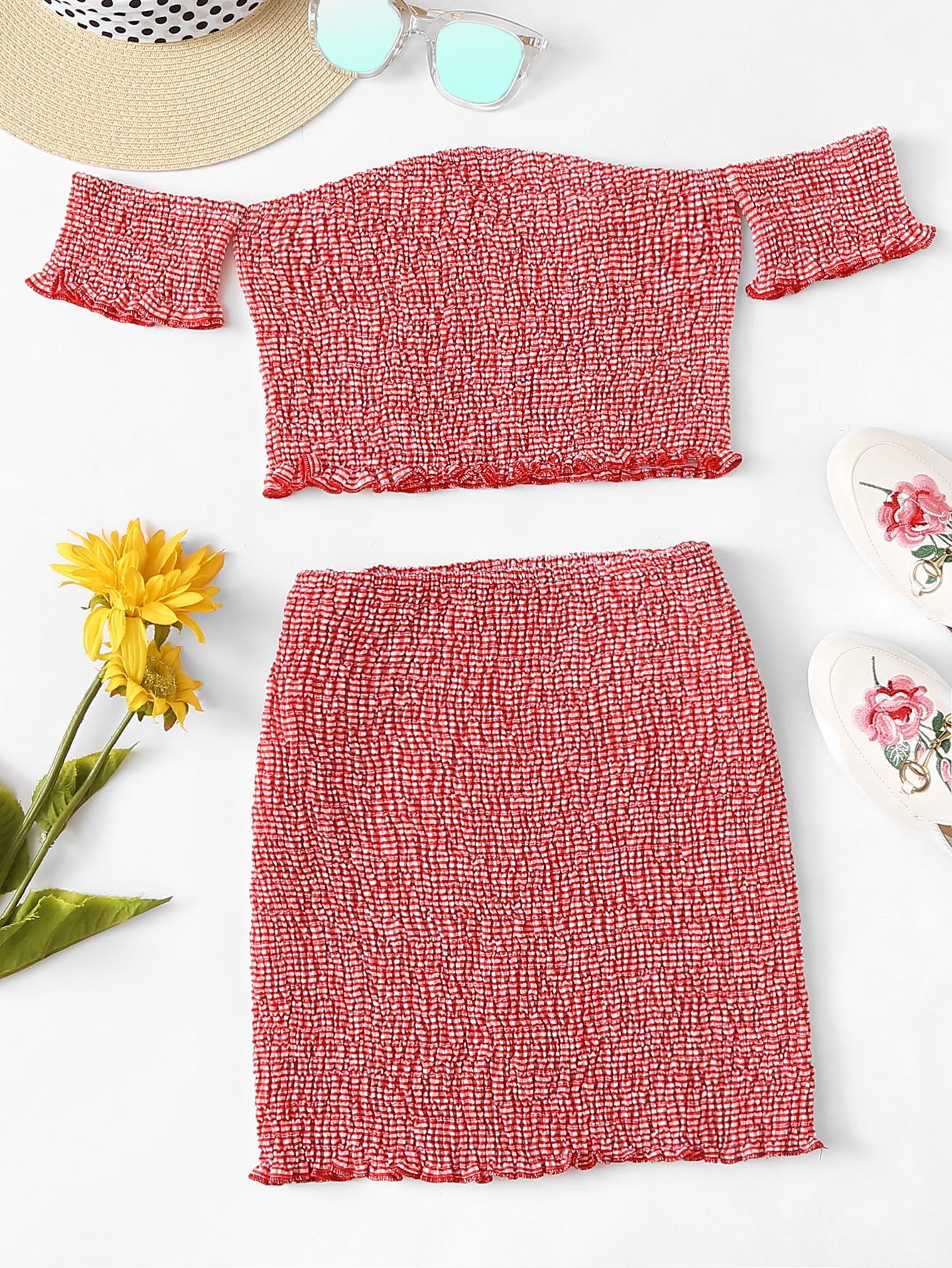 Bardot Frill Trim Shirred Top With Skirt