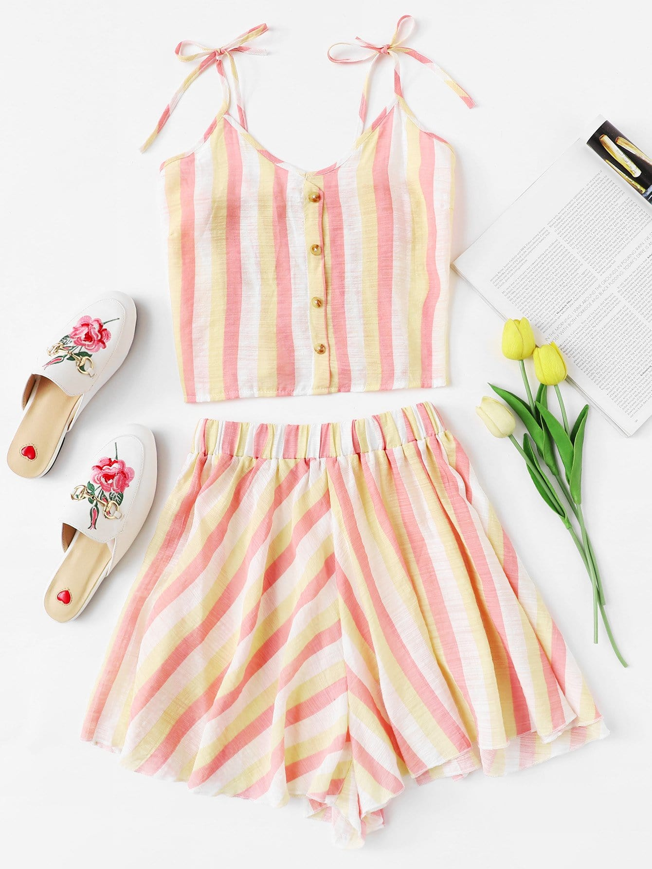 Multi-Stripe Tie Strap Top With Shorts