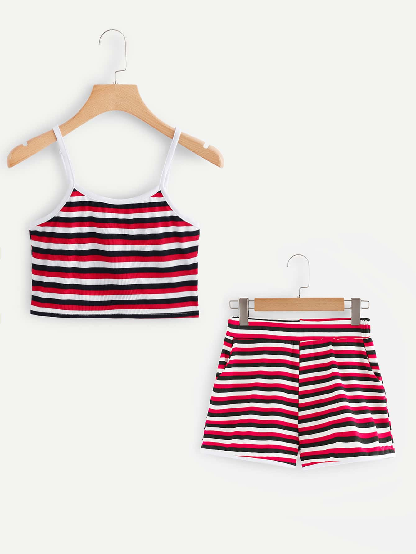 Multi-Stripe Crop Cami Top With Shorts