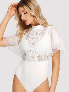 Mock Neck Layered Sleeve Guipure Lace Bodice Bodysuit without Bra