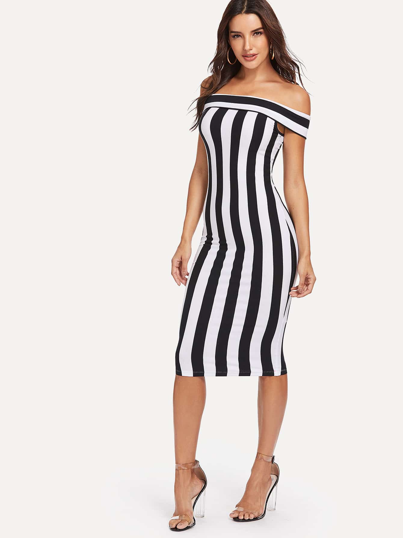 Off Shoulder Striped Bodycon Dress sweetheart off shoulder asymmetrical bodycon dress