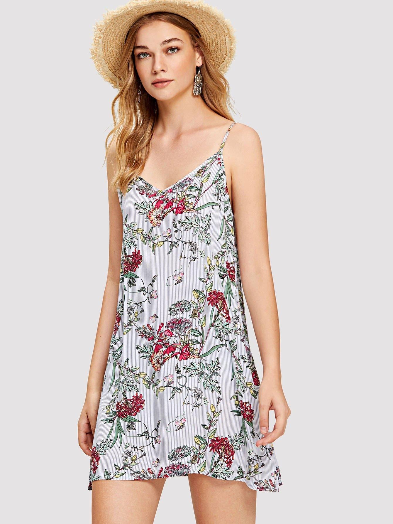 Купить Ботанические и полосатые ками платье, Teresa, SheIn