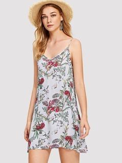 Botanical and Striped Cami Dress
