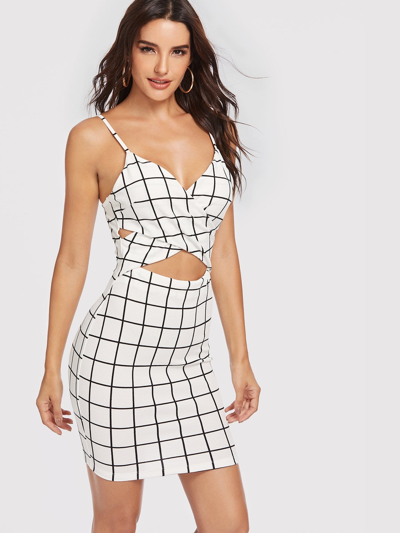 Cut Out Cross Wrap Front Grid Cami Dress