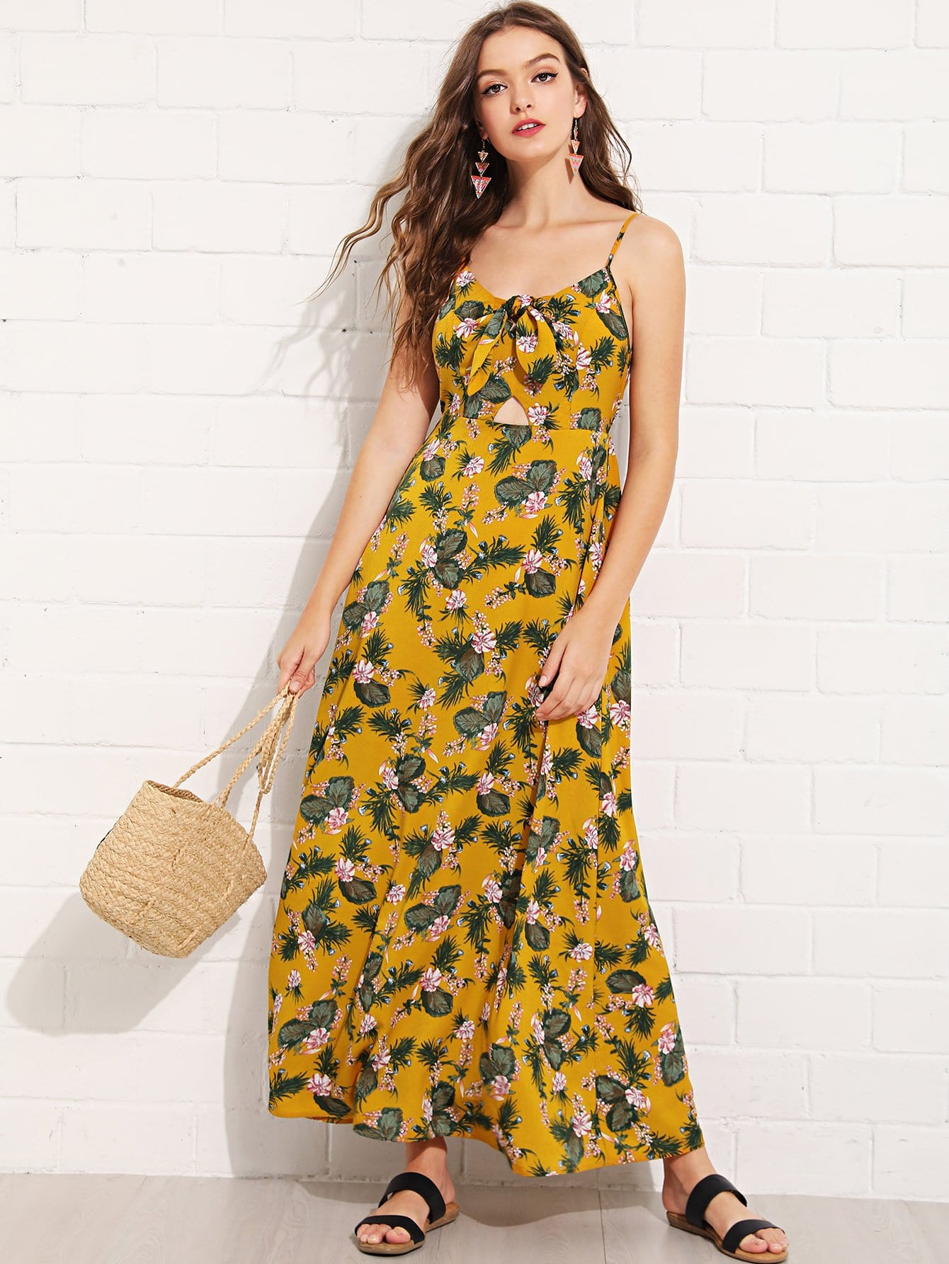 Knot Cut Out Front Keyhole Back Floral Cami Dress keyhole front mix media fitted dress