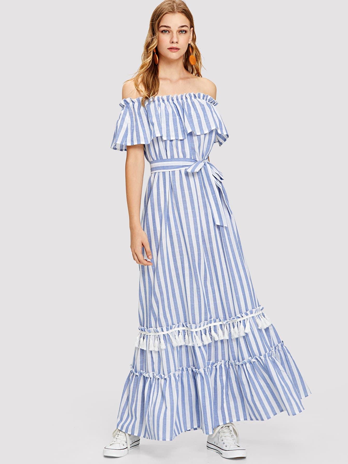 Tassel Detail Self Belted Layered Hem Striped Foldover Dress tassel detail striped swimsuit