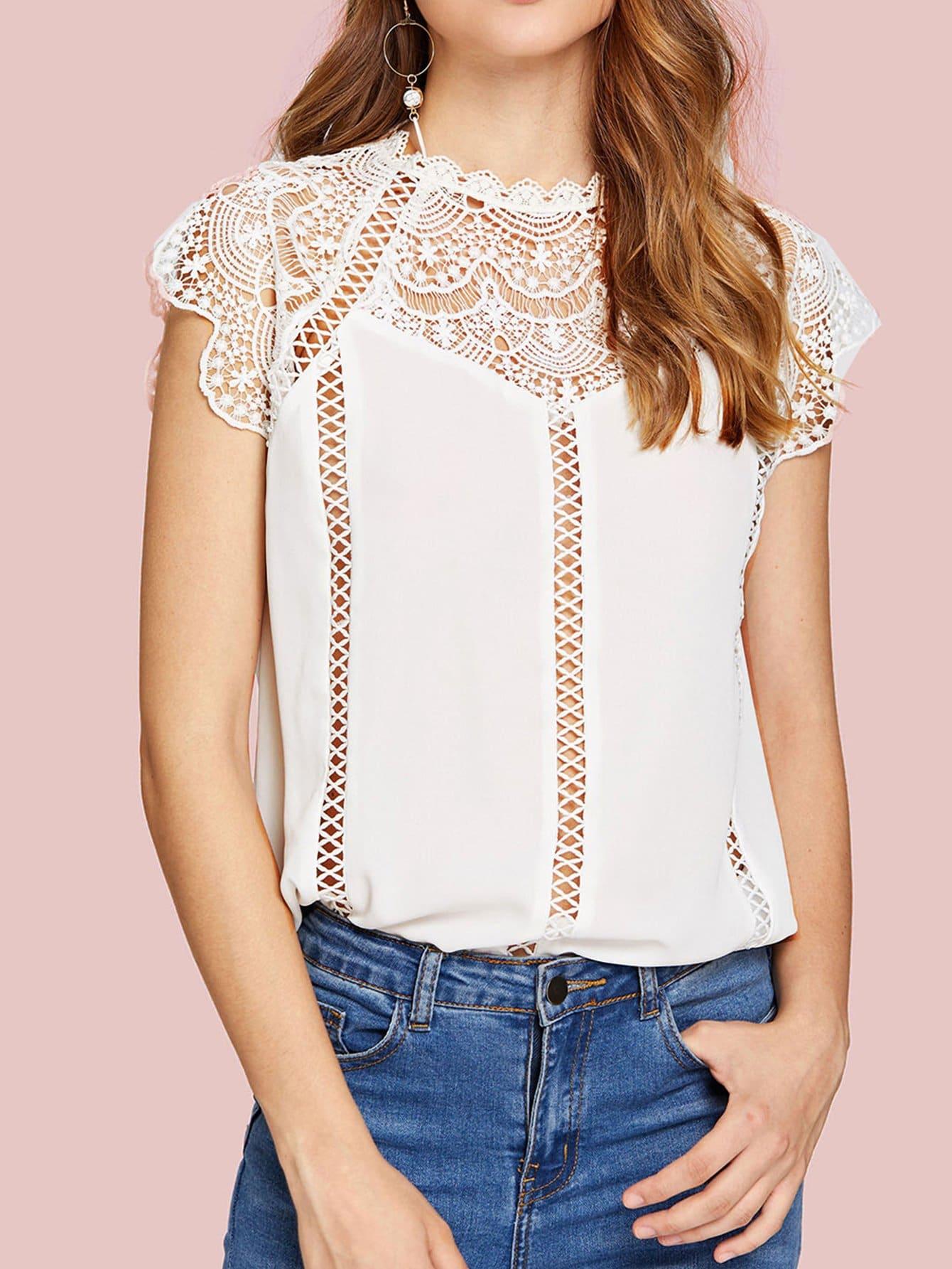 Sheer Lace Yoke Top frilled collar lace yoke sleeveless top