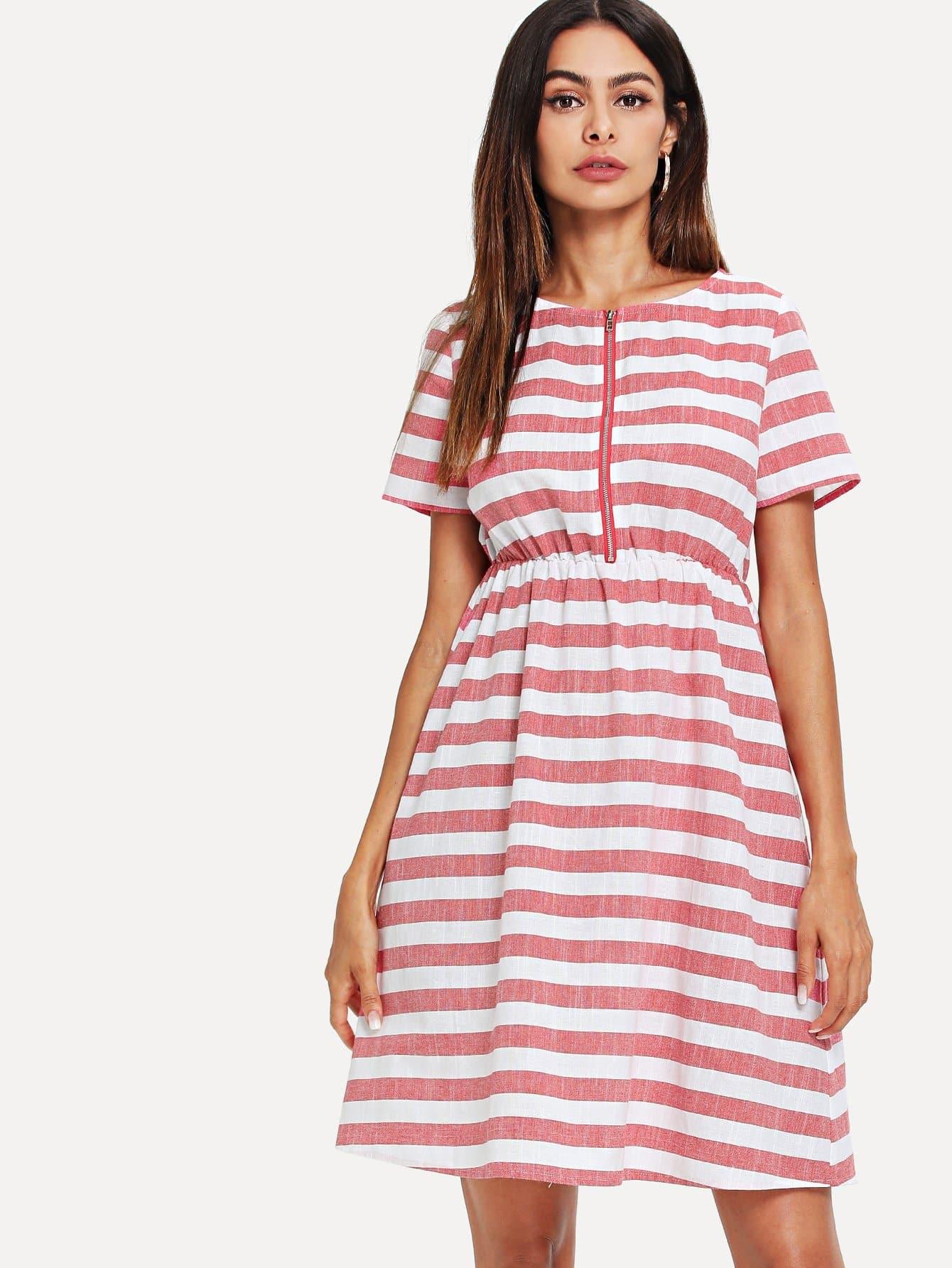 Zip Half Placket Elastic Waist Striped Dress half placket striped smock shirt dress