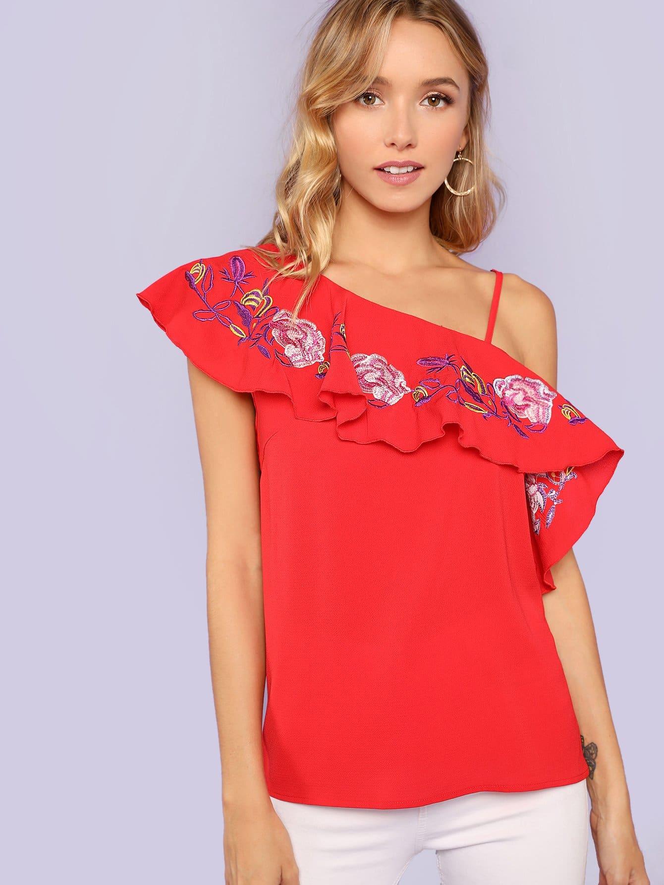 Embellished One Shoulder Ruffle Top one shoulder ruffle embellished dress