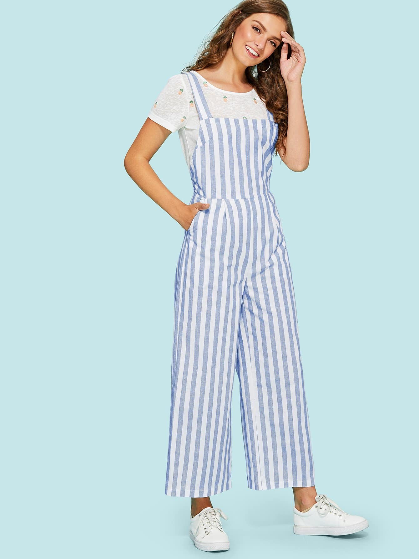 Thick Strap Striped Wide Leg Jumpsuit tube striped wide leg jumpsuit