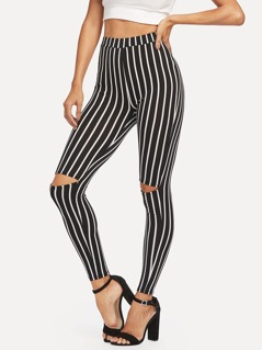 Ripped Knee Striped Leggings