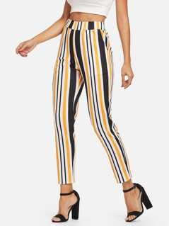 Wide Waist Striped Pants