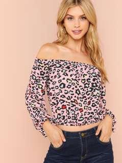Leopard Print Off Shoulder Top