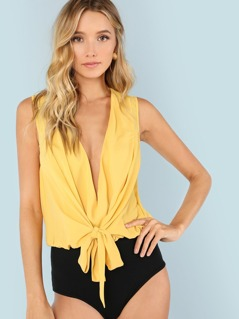 Plunging Neck Two Tone Bodysuit