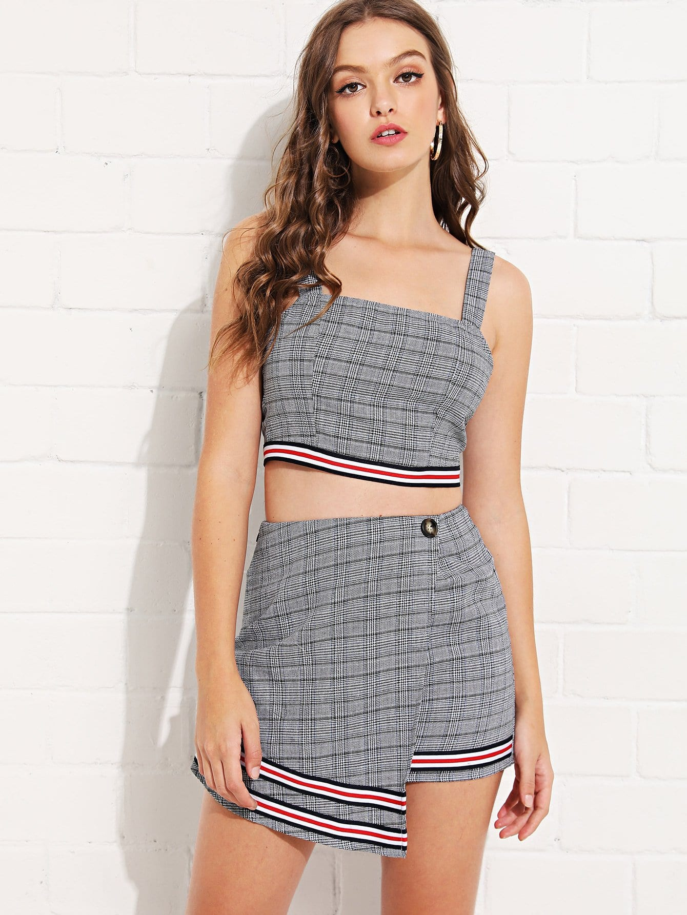 Plaid Striped Hem Crop Top and Overlap Front Skirt Set striped ruffle hem overlap skirt