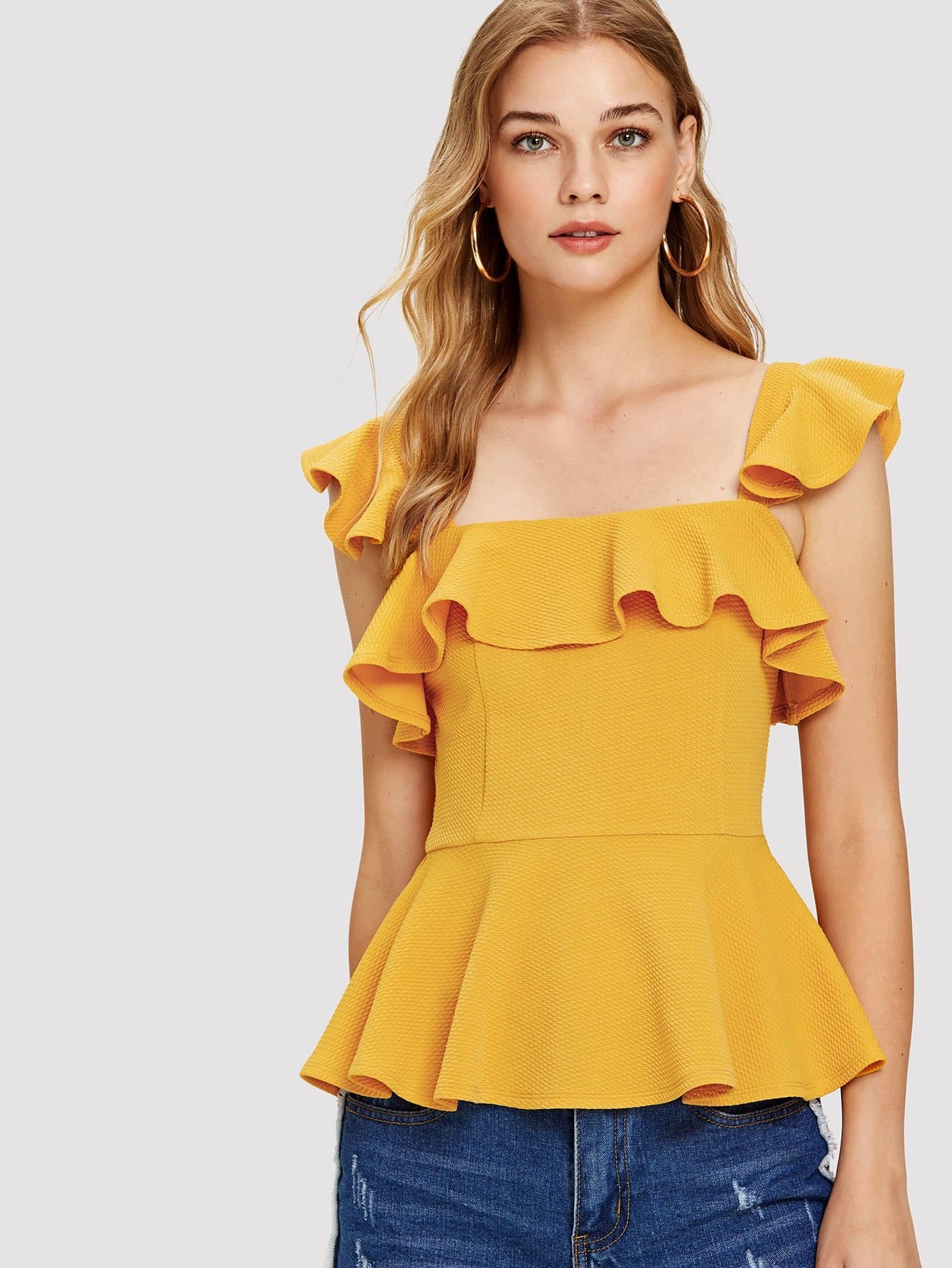 Ruffle Trim Foldover Front Top