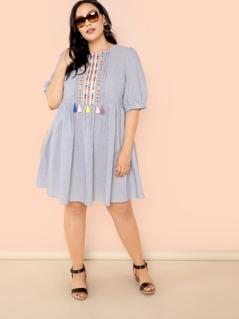 Plus Embroidery Tape Tassel Detail Pinstripe Dress