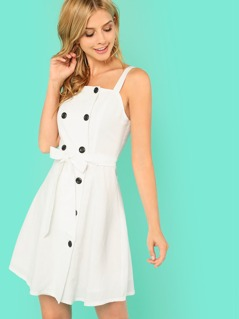 Self Belted Double Button Dress