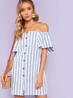 Off The Shoulder Button Through Striped Dress
