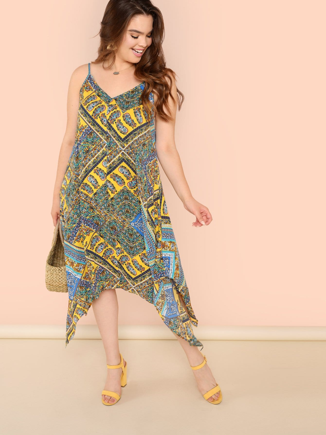 Plus Patchwork Print Hanky Hem Cami Dress abstract print hanky hem cami dress