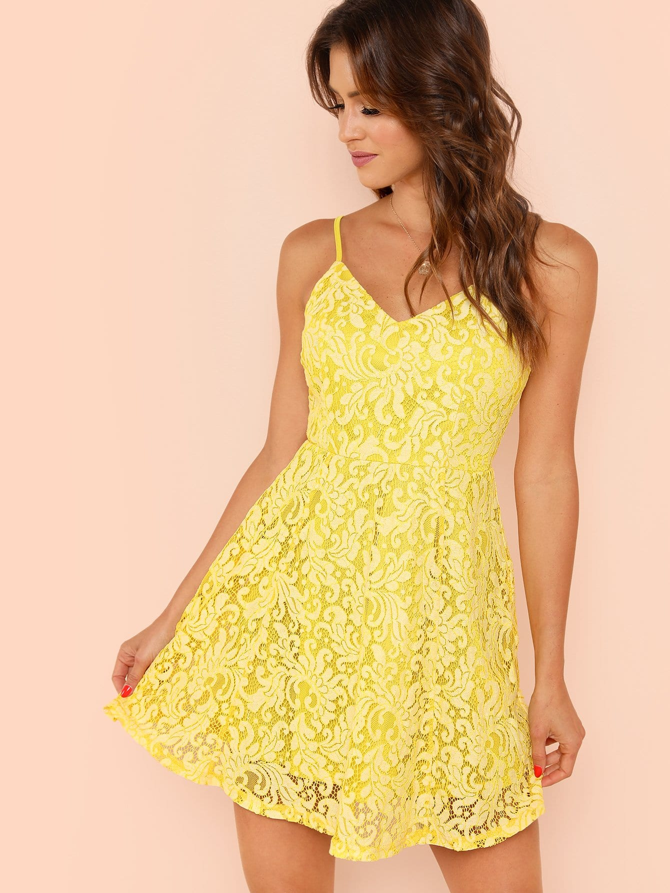 Lace Overlay Fit & Flare Cami Dress lace overlay fit and flare dress