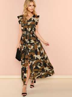 Ruffle Armhole Shirred Waist Split Camo Utility Dress