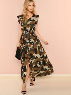 Ruffle Armhole Shirred Waist Split Camo Dress