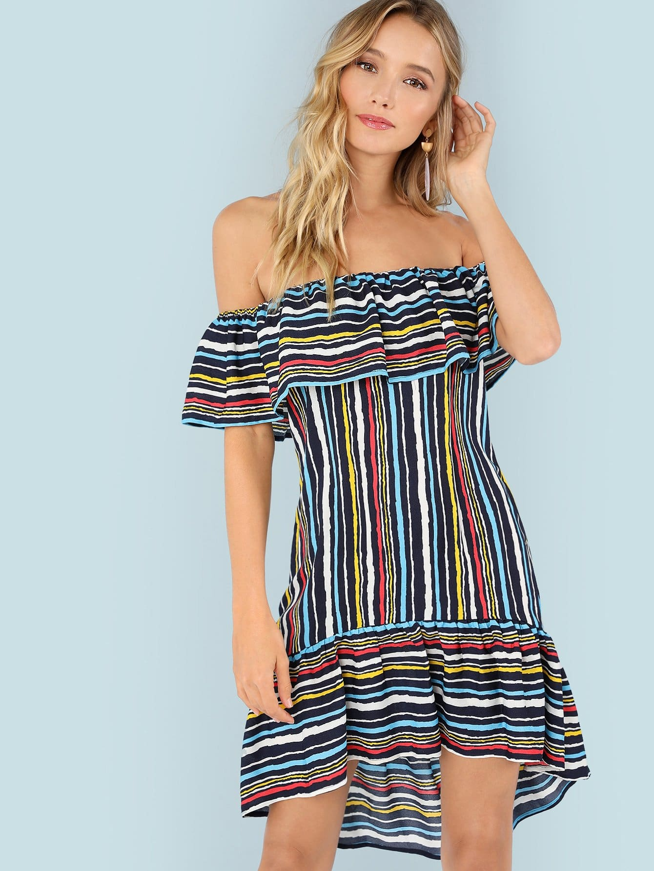 Flounce Foldover Striped Bardot Dress