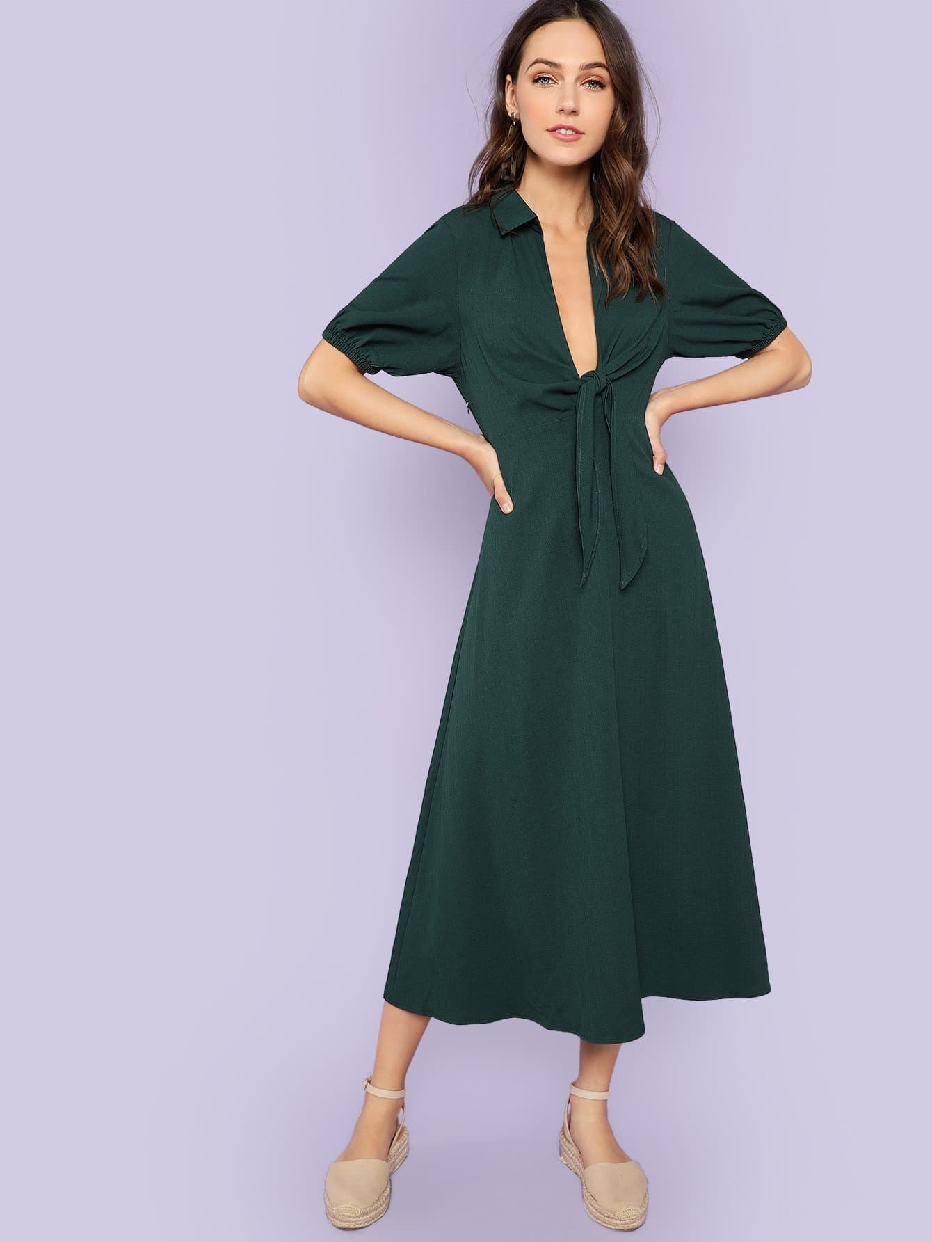 Elastic Cuff Knot Plunging Neck Dress plunging neck knot back floral dress