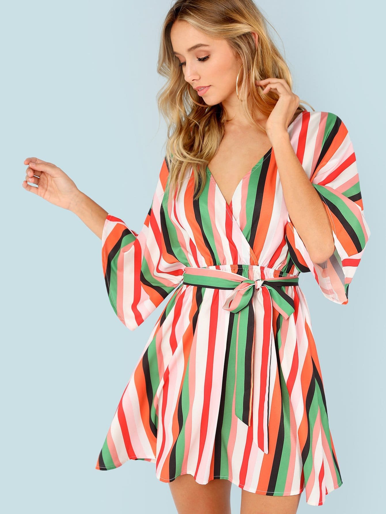 Flutter Sleeve Self Belted Striped Surplice Wrap Dress surplice neck self belted floral dress