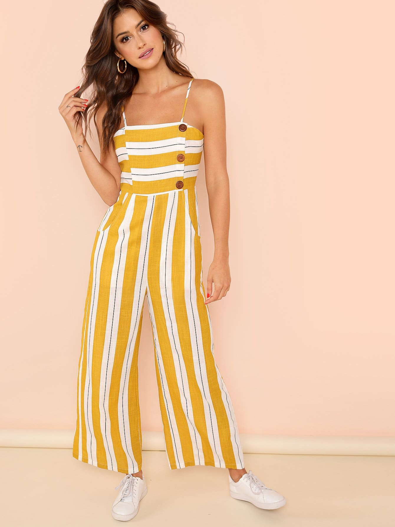 Striped Print Wide Leg Cami Jumpsuit tie waist wide leg striped cami jumpsuit
