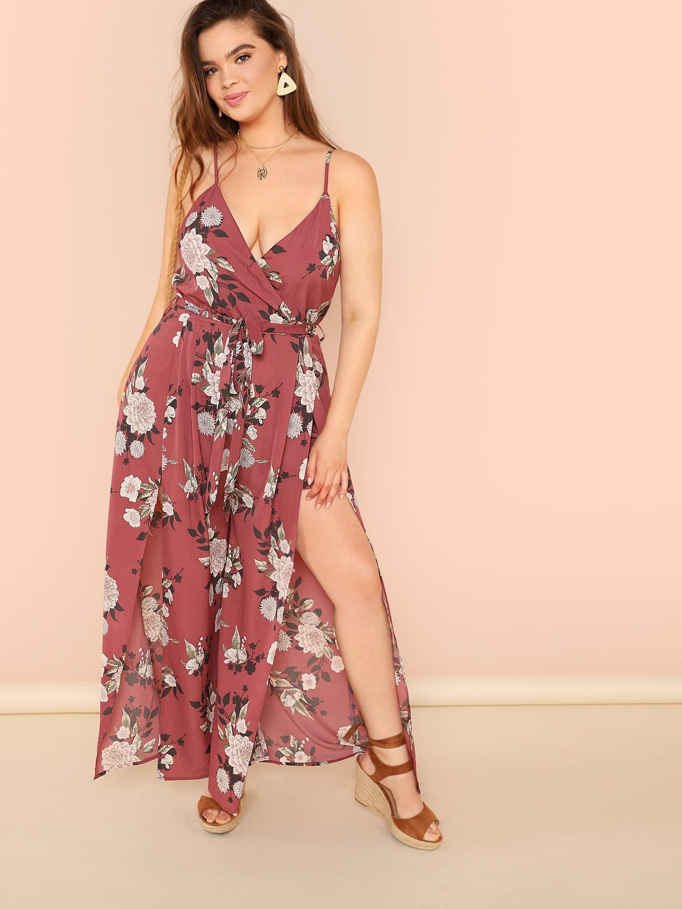 Self Belted Slit Flare Hem Floral Cami Jumpsuit flounce hem belted pinstripe cami dress