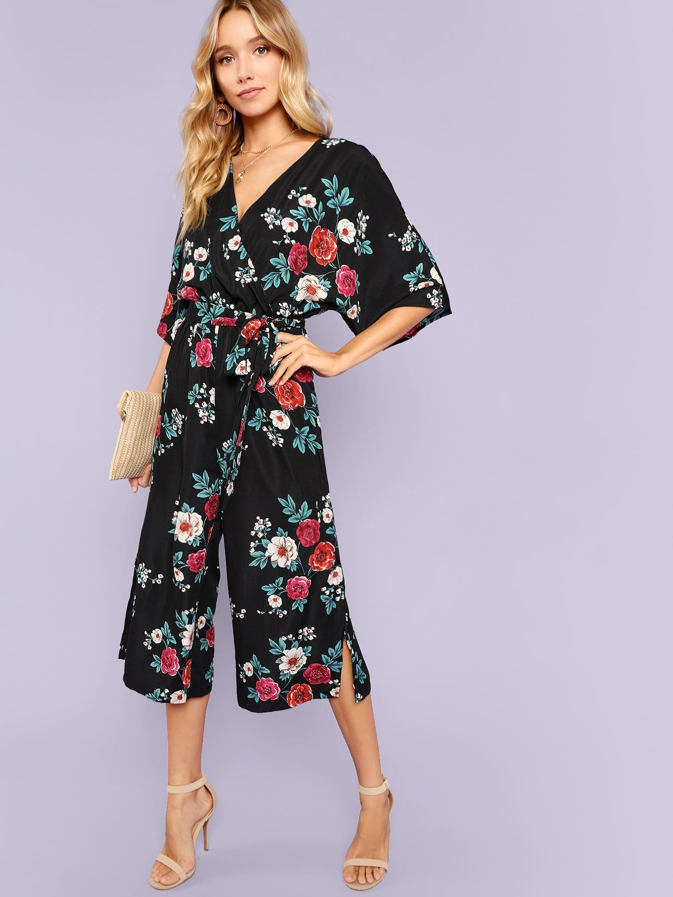 Split Side Floral Culotte Jumpsuit with Belt wrap front floral jumpsuit with belt