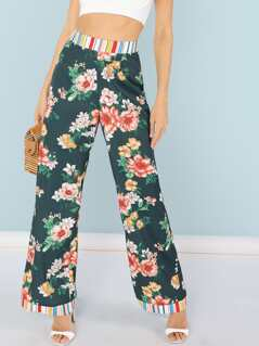 Striped Waist and Hem Floral Pants