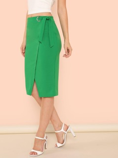 Ring Detail Knot Waist Wrap Slit Front Skirt