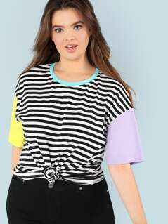 Plus Cut And Sew Striped Tee