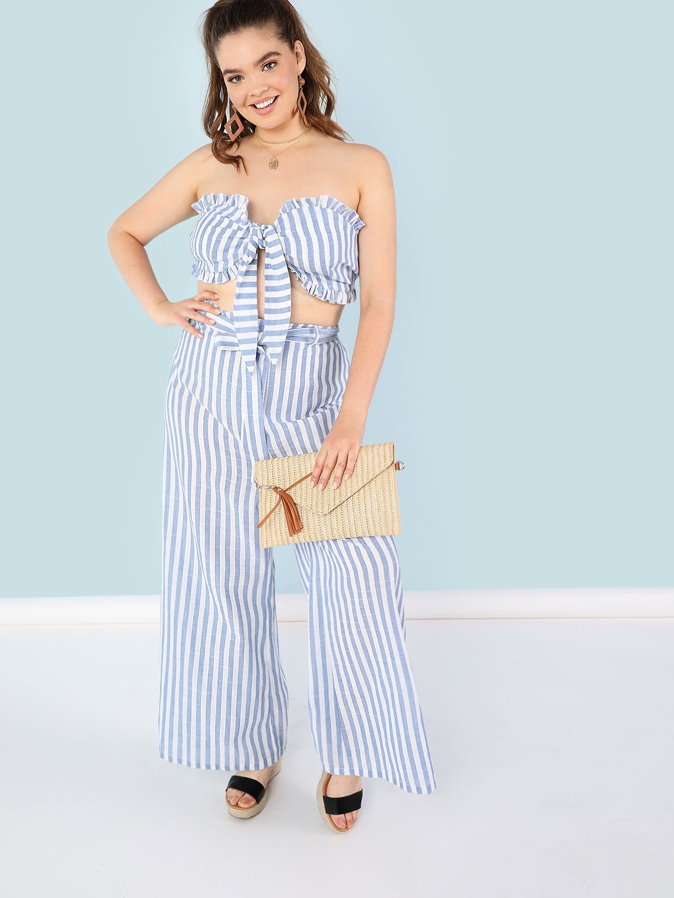 Фото Frill Trim Knot Front Crop Top & Belted Pants Set checker knot bikini set