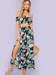 Jungle Leaf Print Shirred Crop Top and Slit Skirt Set