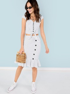 Button Up Knot Hem Grid Top and Ruffle Hem Skirt Set