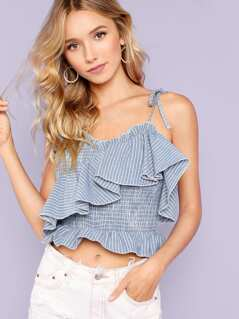 Self Tie Shoulder Ruffle Trim Shirred Cami Top
